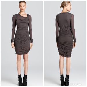 Helmut Lang small long sleeve ruched dress
